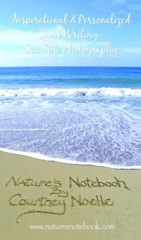 Capture treasured memories and messages in the sand with Nature's Notebook. What a beautiful and inspiring photo postcard!