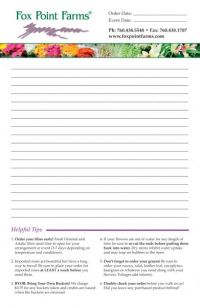 Remember to order your lilies early from  Fox Point Farms. This brilliant notepad design even gives pointers on caring for your new freshly grown arrangements.