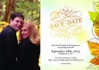 Here's a perfect way to set the tone for a romantic fall wedding-a personalized autumn themed Save the Date Postcard!