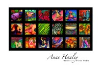 Award winning  mixed media artist Anne Hanley is inspired by nature and often paints a variety of subjects, exaggerating forms  in expressive bold shapes of color and texture. Overnight Prints is thrilled that she chose to use our postcards to display her riveting and  vibrant batik designs!