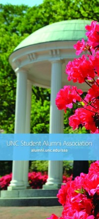 Calling all alumni! This vibrant rack card is sure to get their attention.