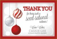 """Cassie Gee is using this """"scen-sational"""" postcard to appreciate her customers during the holidays."""