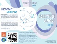 The back side of this brochure offers a map, exhibit details and a QR code for mobile scanners who want to tour the sculptures in Chapel Hill, SC.